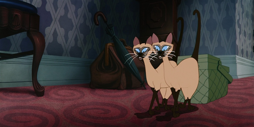 Si and Am from Disney's \Lady and The Tramp\ walk together and smile, movies