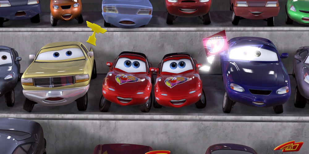 Mia and Tia from Pixar's \Cars\ cheer on Lightning McQueen from the stands, movies