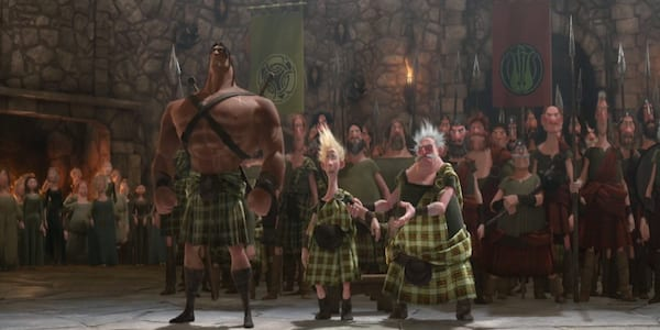 Clans from Pixar's \Brave\ gather in front of King Fergus and Queen Elinor to greet them, movies