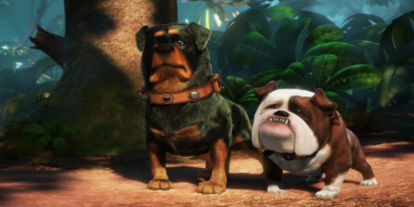 The dogs, Delta and Gamma, from Pixar's \Up\ stand at attention, movies