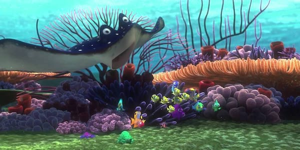 Mr. Ray and the class from Pixar's \Finding Nemo\ look into the drop-off point, movies