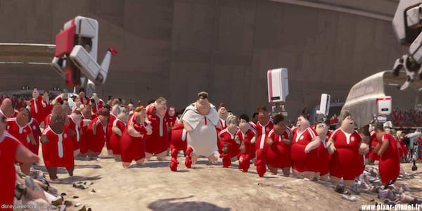 The captain and human inhabitants in Pixar's \WALL-E\ walk for the first time, movies