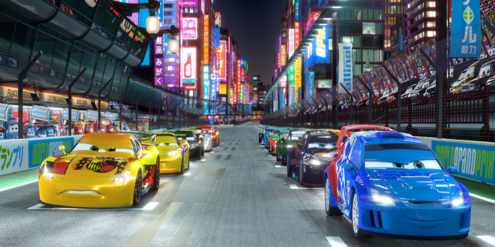Cars line up in Pixar's \Cars 2\ in Japan to begin the race, movies