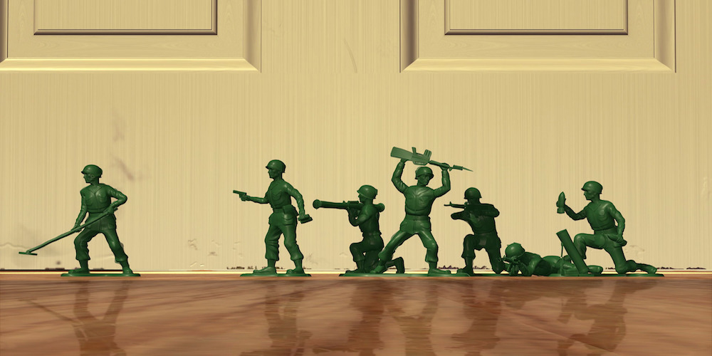 The Green Army Men from Pixar's \Toy Story\ line up in formation, movies