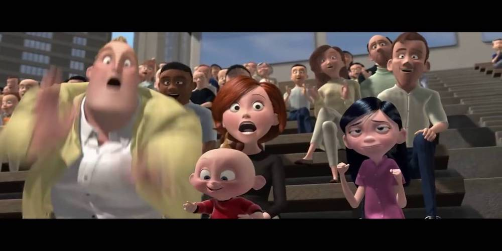 The Parr family from Pixar's \The Incredibles\ cheer Dash on as he runs in a race, movies