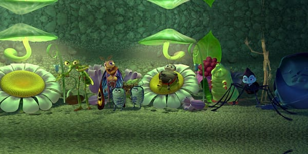 The crew from Pixar's \A Bug's Life\ stand around and look on, movies