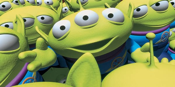 The Little Green Men from Pixar's \Toy Story\ crowd around, movies