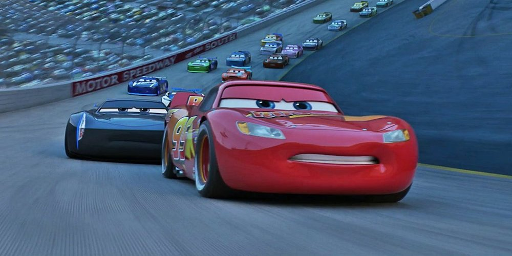 Lightning McQueen from Pixar's \Cars 3\ races in the final race, movies