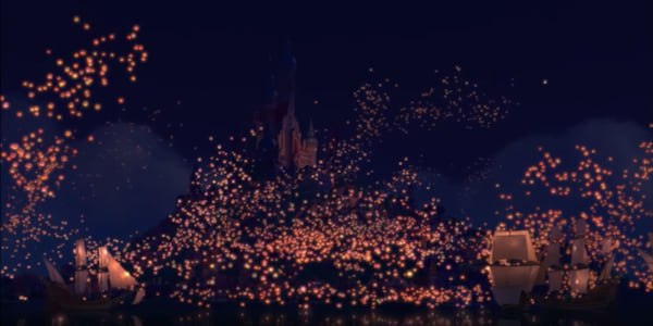The lantern festival scene on the water in Disney's \Tangled\, movies
