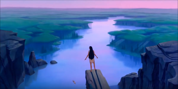 Pocahontas from Disney's \Pocahontas\ looks over the cliff to the water, movies