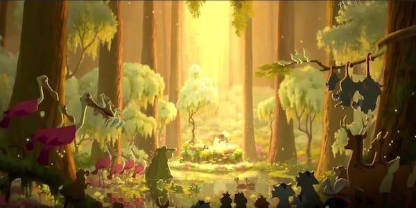 Mama Odie marries Princess Tiana in the swamp in Disney's \Princess and The Frog\, movies