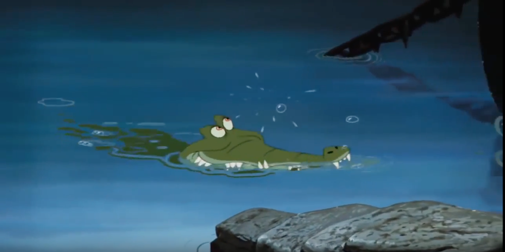 The Tick Tock croc from Disney's \Peter Pan\ swims to Hook's ship, movies