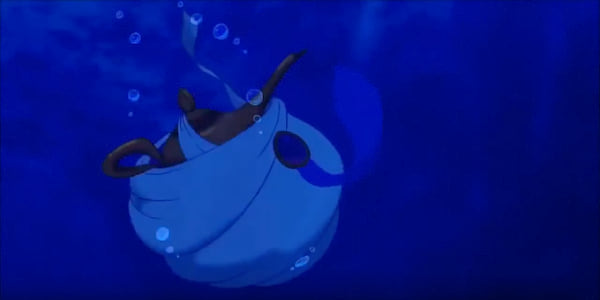 The Genie's lamp and Aladdin's turban from Disney's \Aladdin\ sink in the ocean, movies