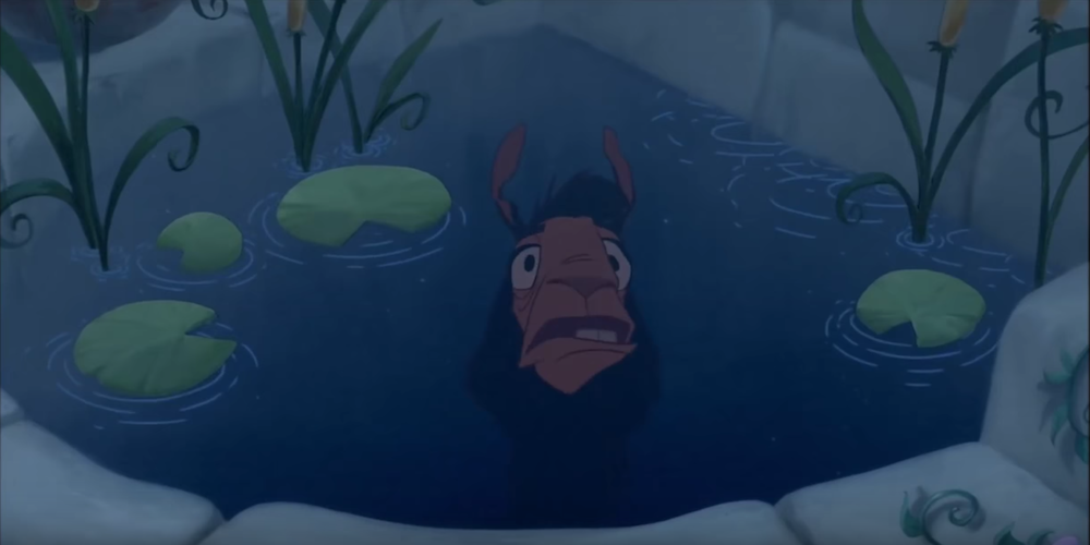 Kuzco from Disney's \The Emperor's New Groove\ looks at his reflection in the well, movies