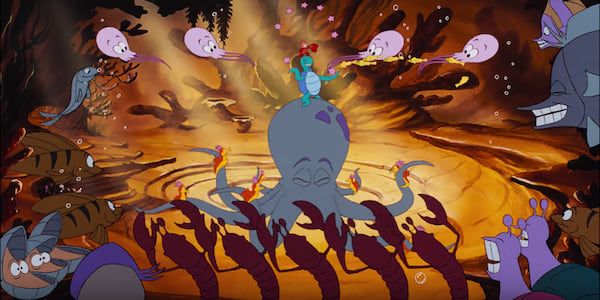 Sebastian and his orchestra from Disney's \The Little Mermaid\ sing \Under the Sea\, movies