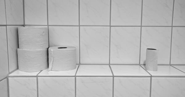 Toilet paper stacked in a bathroom