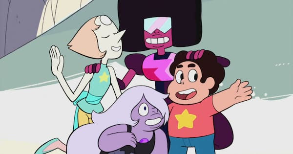 Steven Universe with Pearl, Amethyst, and Garnet