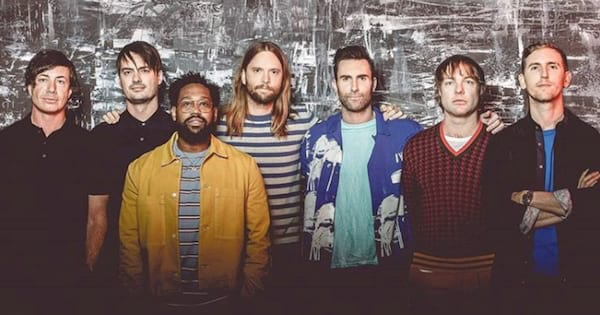 Group shot of the band Maroon 5 at iHeartRadio