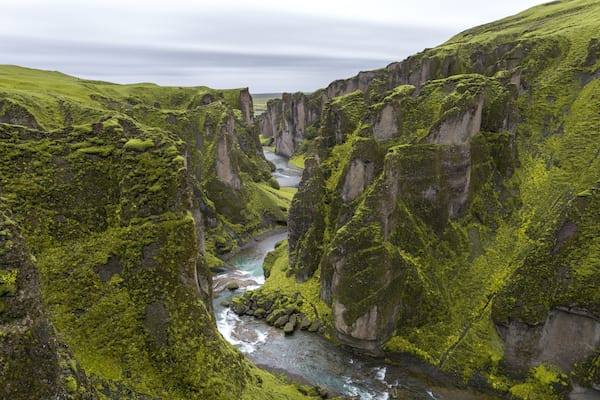 Iceland mountains and a gorge with greenery