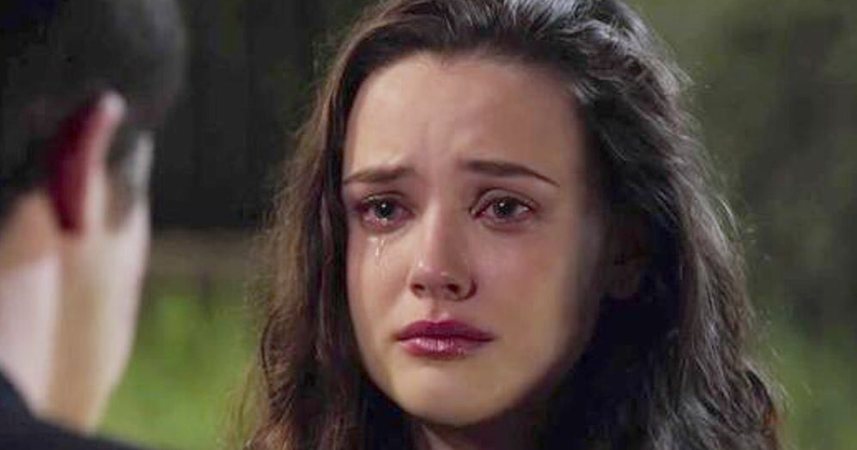 Hannah Baker crying in front of Clay in Netflix's '13 Reasons Why'