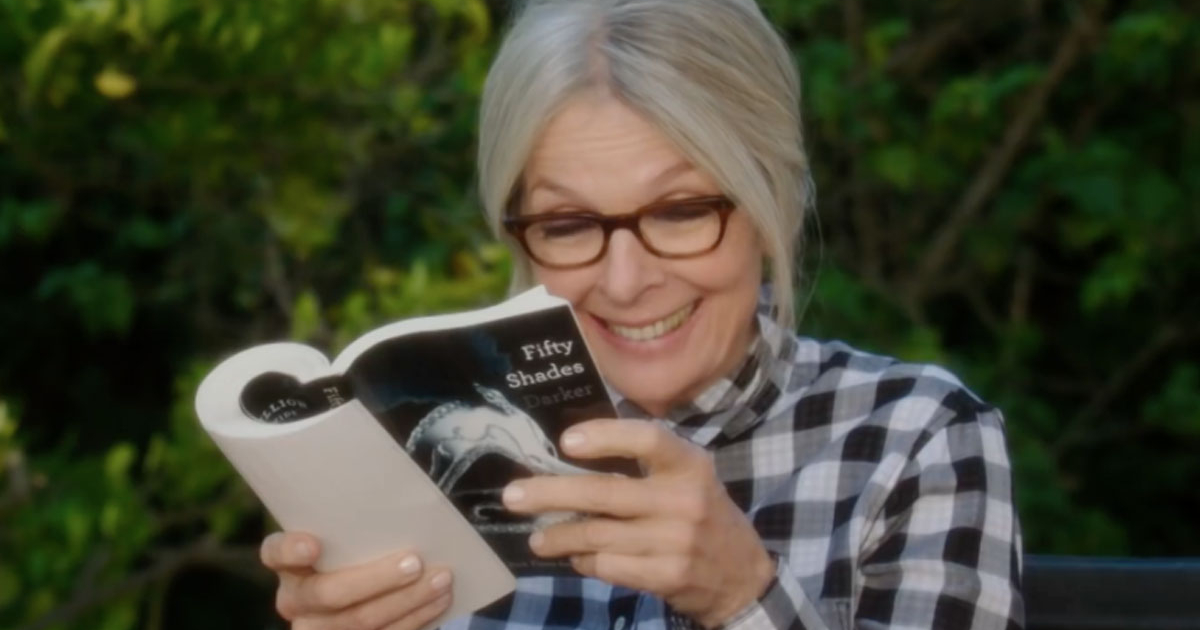 Diane Keaton reading Fifty Shades of Grey as her character in Book Club (2018)