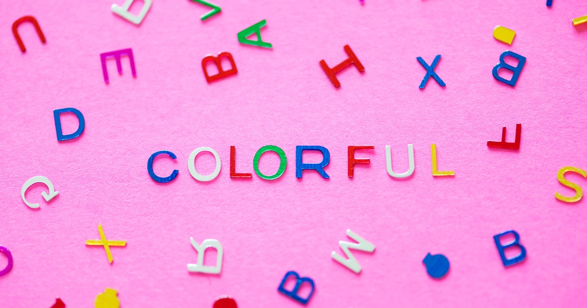The word \colorful\ spelled out in small letters with a pink background. Other letters are scattered around., science & tech