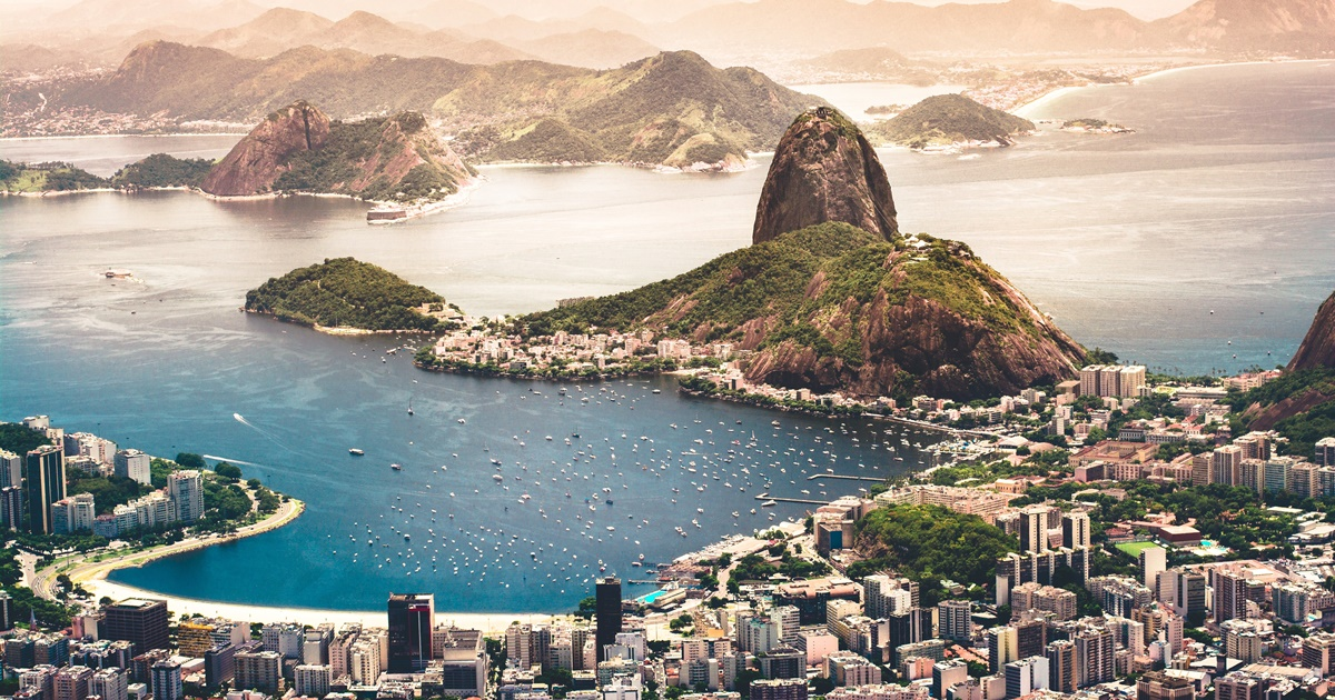Rio de Janeiro, Brazil aerial view, including the city, water, and mountains., science & tech, travel