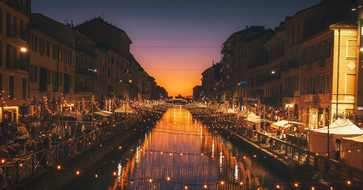 Milan light up by small lights., science & tech, travel