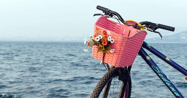 Closeup of a bike with a pink basket. The sea is in the background., science & tech, fitness
