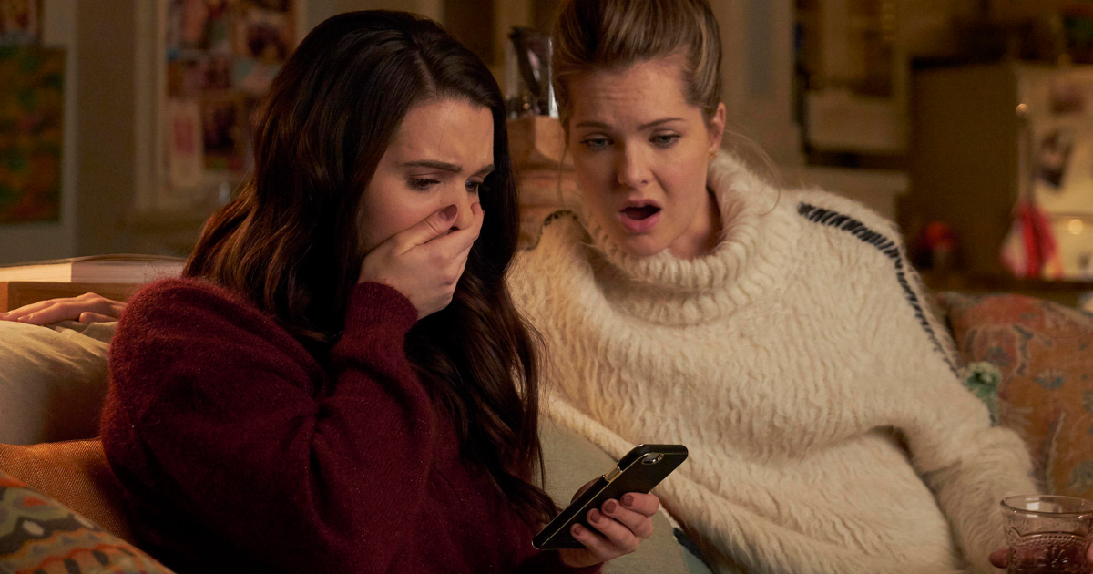 Katie Stevens and Meghann Fahy looking upset in an episode of The Bold Type