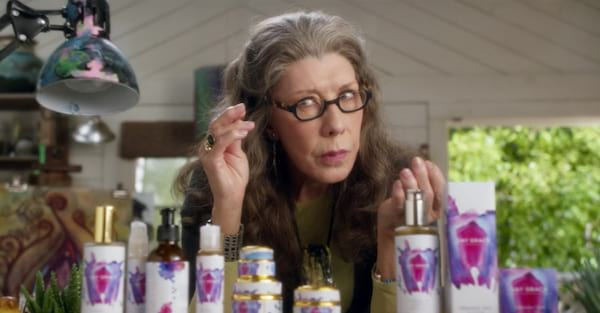 Lily Tomlin as Frankie with her lube products in Netflix's Grace and Frankie