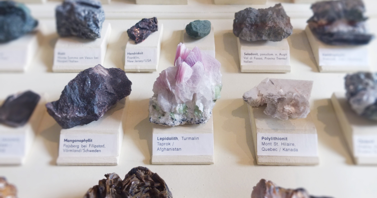 Various crystals on display