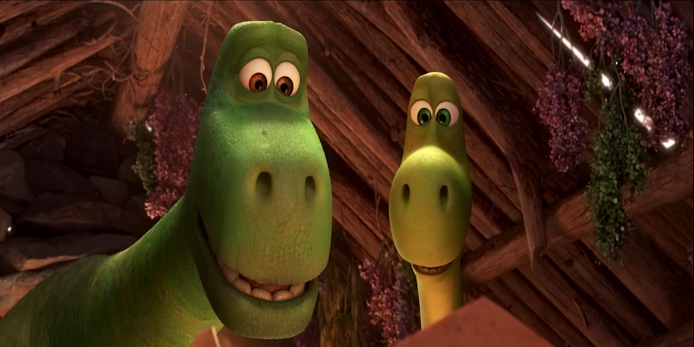 Arlo's parents from Pixar's The Good Dinosaur look on as he hatches., movies