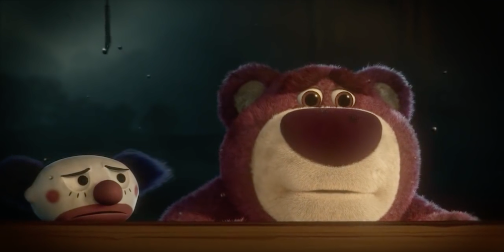 Lotso Bear and Chuckles look inside Daisy's window in Pixar's Toy Story 3., movies