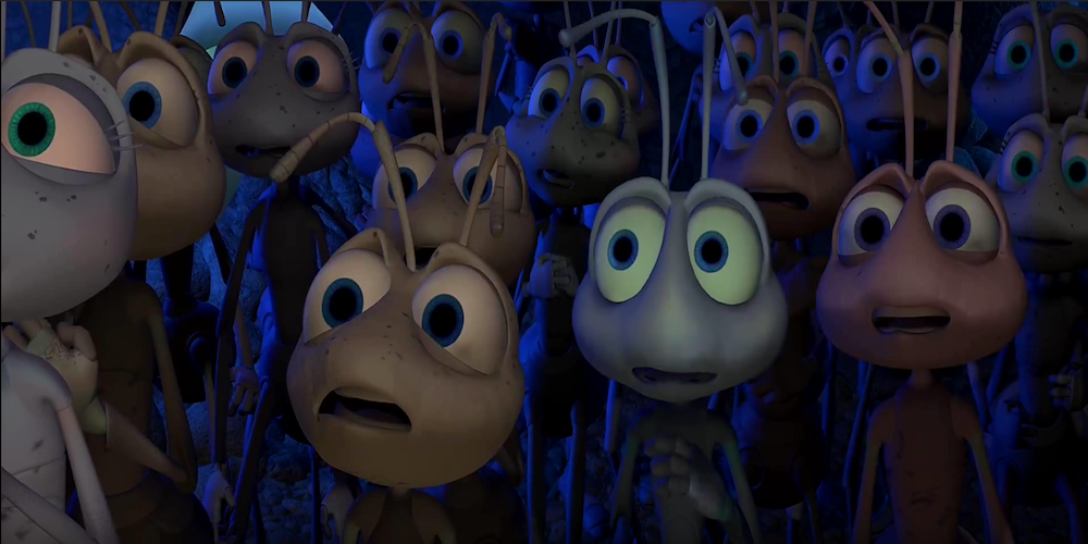 The ants in Pixar's A Bug's Life look scared as Hopper infiltrates their colony., movies