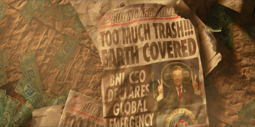 A Buy N Large newspaper from Pixar's WALL-E is crumpled on the dirty ground., movies