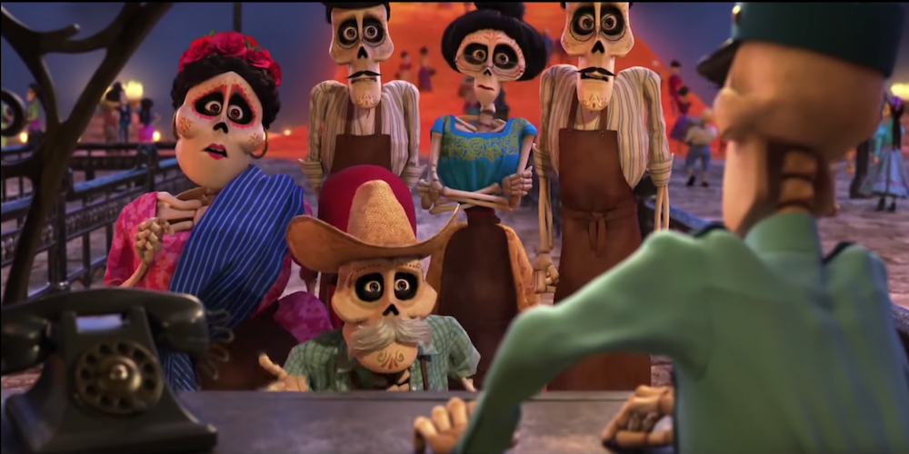 Miguel's skeleton family from Pixar's Coco try to go home to celebrate Cinco de Mayo., movies