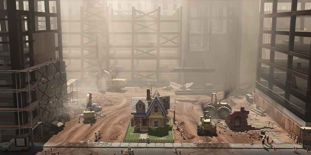 Carl's house from Pixar's Up is in the middle of a large construction site., movies
