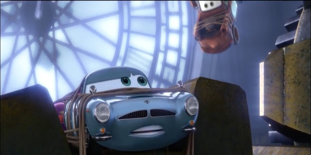 The spy cars from Pixar's Cars 2 are stuck in the clock tower with Mater., movies