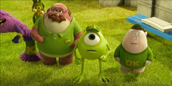 College-aged Mike Wazowski from Pixar's Monsters University looks on with Oozma Kappa., movies