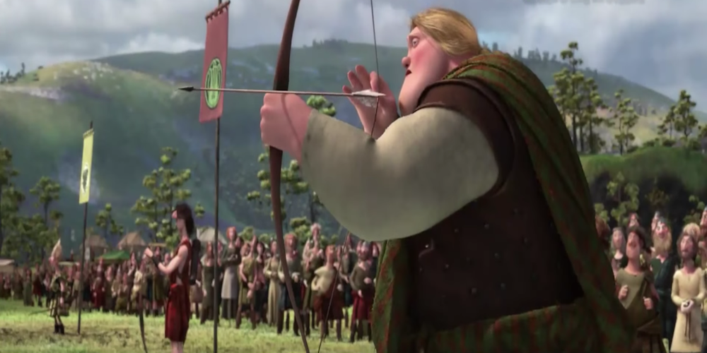 Merida's suitors from Pixar's Brave compete in the archery event., movies