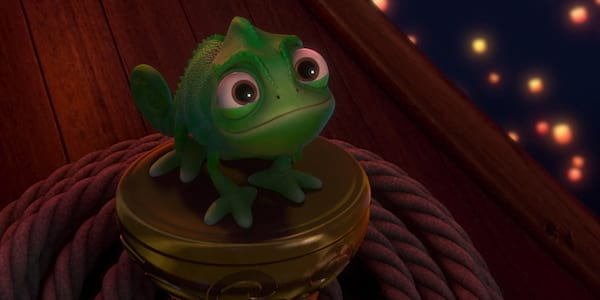 movies, Pascal from Disney's Tangled looks up at the lanterns in the sky.