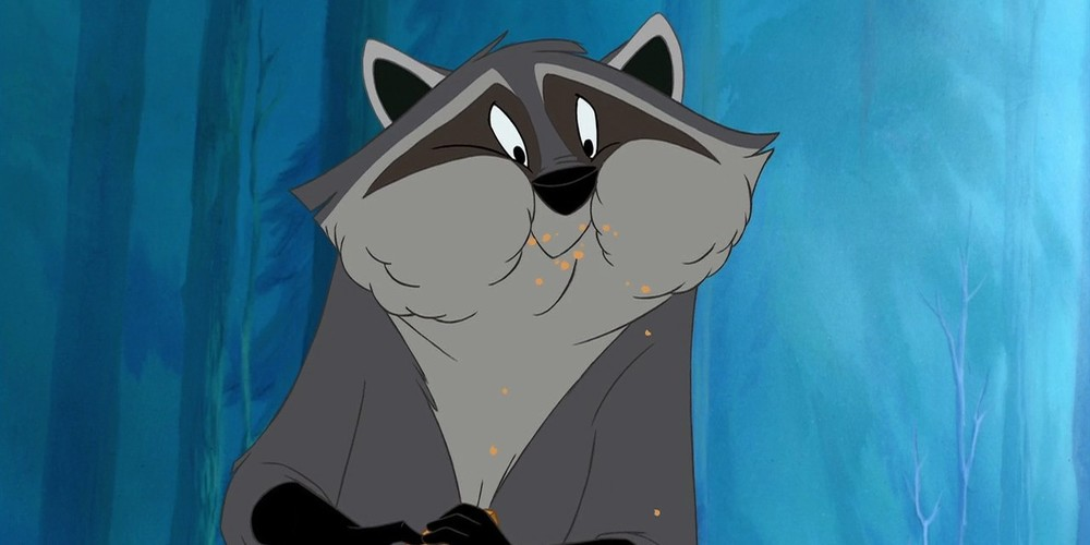 Meeko from Disney's Pocahontas eating food with full cheeks., movies