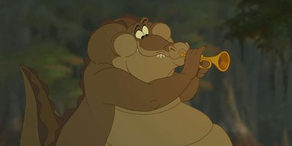 Louis from Disney's The Princess and The Frog plays his trumpet., movies