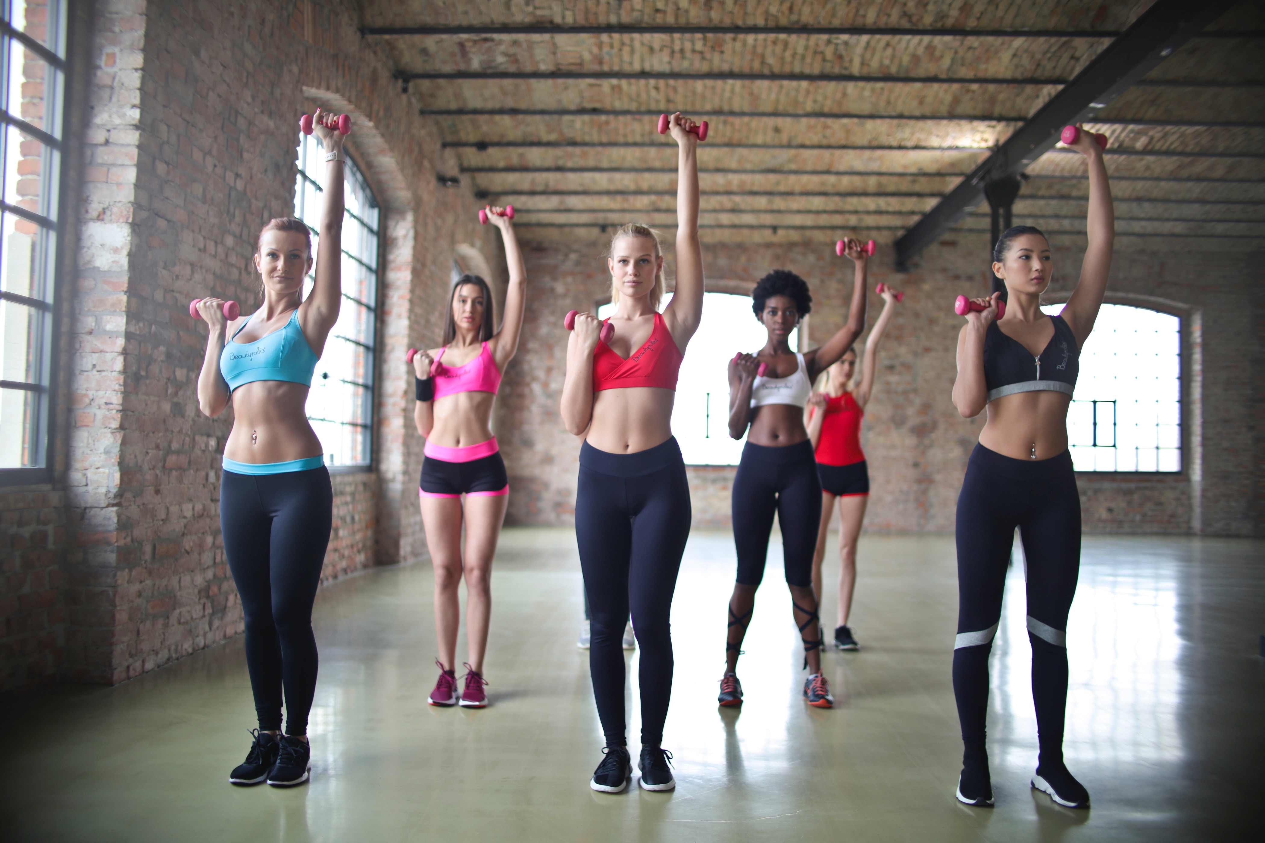 Women exercising in a group class