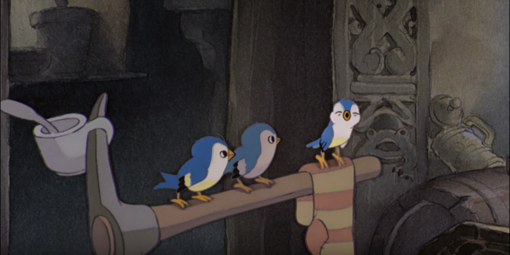 Bluebirds from Disney's Snow White singing on top of an axe in the Dwarfs' cottage., movies