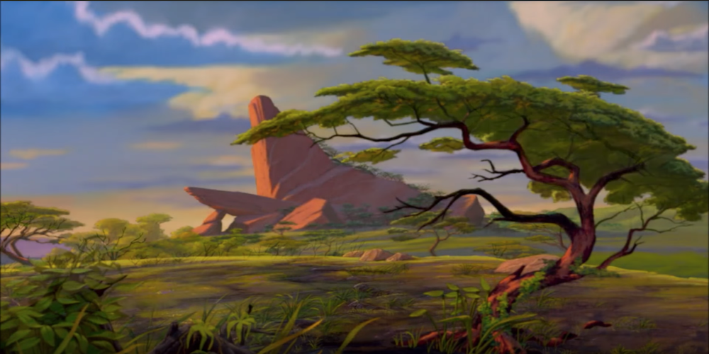 Pride Rock in the sunrise from Disney's Lion King., movies