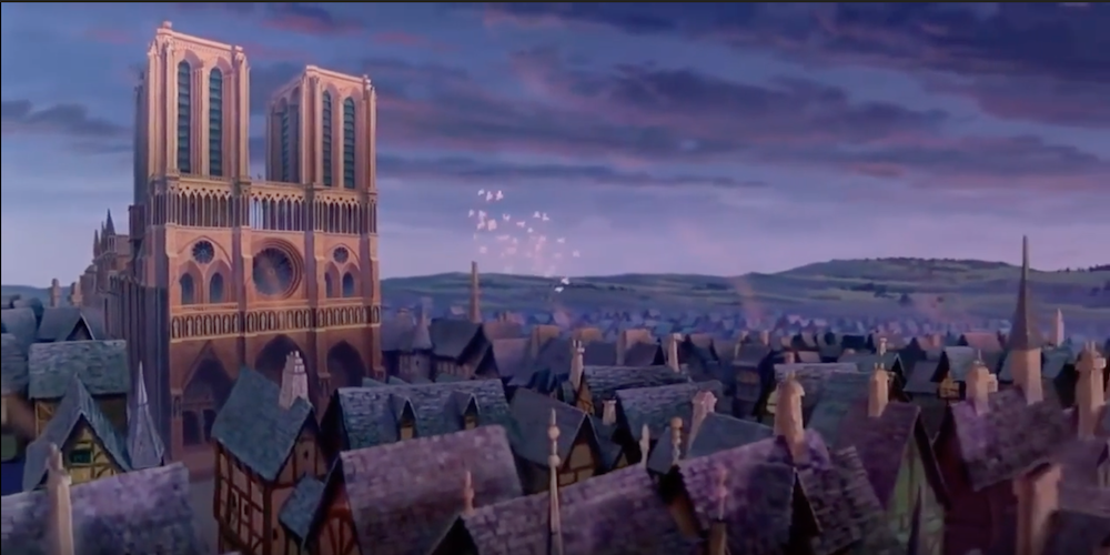 Notre Dame in the setting sun from Disney's The Hunchback of Notre Dame, movies