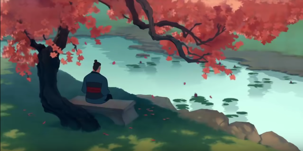 Mulan's father sitting in the cherry blossom garden waiting for her in Disney's Mulan, movies