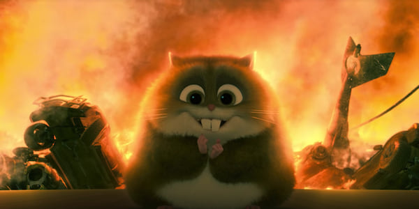 Rhino from Disney's Bolt smiles mischievously as flames erupt behind him., movies